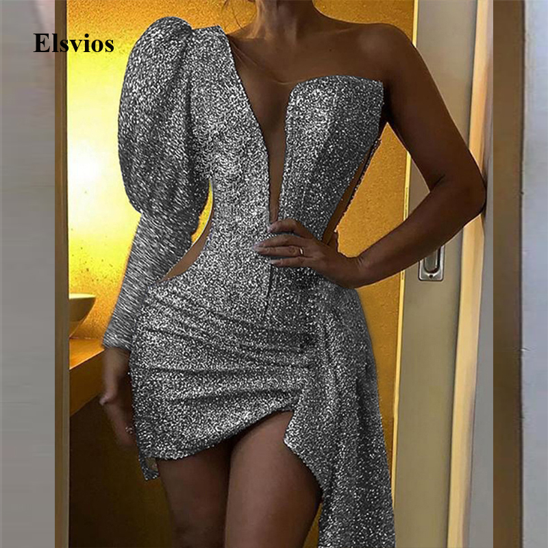 Elegant Puff Sleeve Sequin Party Dress Sexy Off Shoulder Hollow Out Club Mini Dress Women Glitter Patchwork Mesh Bodycon Dresses