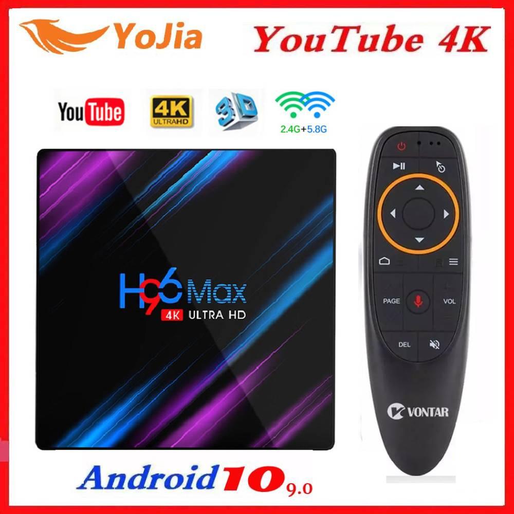 H96 MAX Смарт ТВ коробка Android 10,0 RK3318 4 Гб Оперативная память 64 Гб Встроенная память 4K WiFi медиаплеер Android 9,0 10 H96MAX ТВ коробка Youtube Декодер каналов ка...