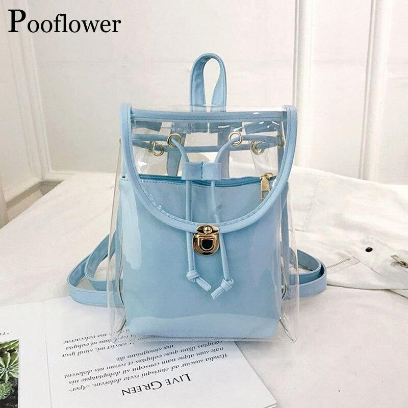 Pooflower, новый модный летний прозрачный рюкзак для женщин, Kawaii, прозрачный мини-рюкзак для девушек, сумка через плечо, кошелек ZH055
