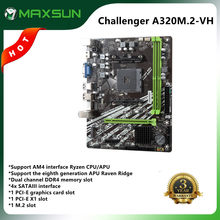 MAXSUN Full New Motherboard AM4 A320M.2-VH Challenger AMD DDR4 memory slots Rams PCI-E M.2 slot ssd VGA mainboard for desktop