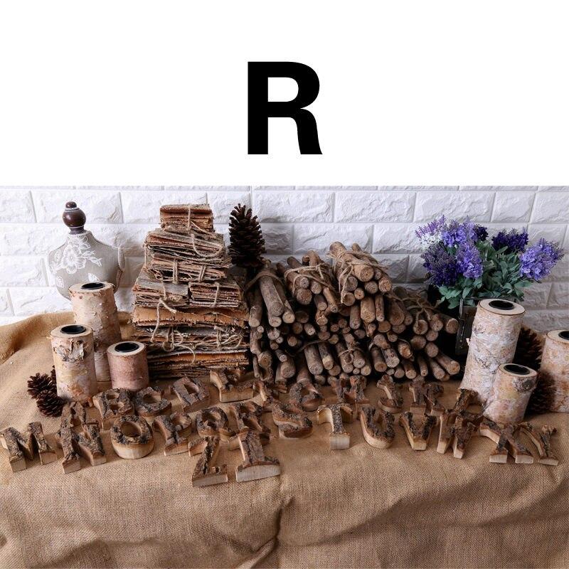 Вместе с коры твердой древесины Ретро Деревянный Английский алфавит номер для кафетерий украшение для дома, ресторана винтажная самодельная буква - Цвет: R