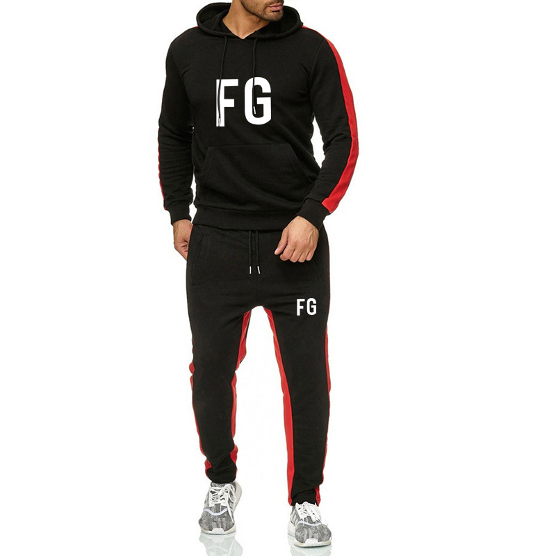 2019 New Brand Men's Sportswear Fashion Sports Jogging Sweatshirt Two-piece Cotton Fleece Thick Hoodie + Casual Sports Pants Men