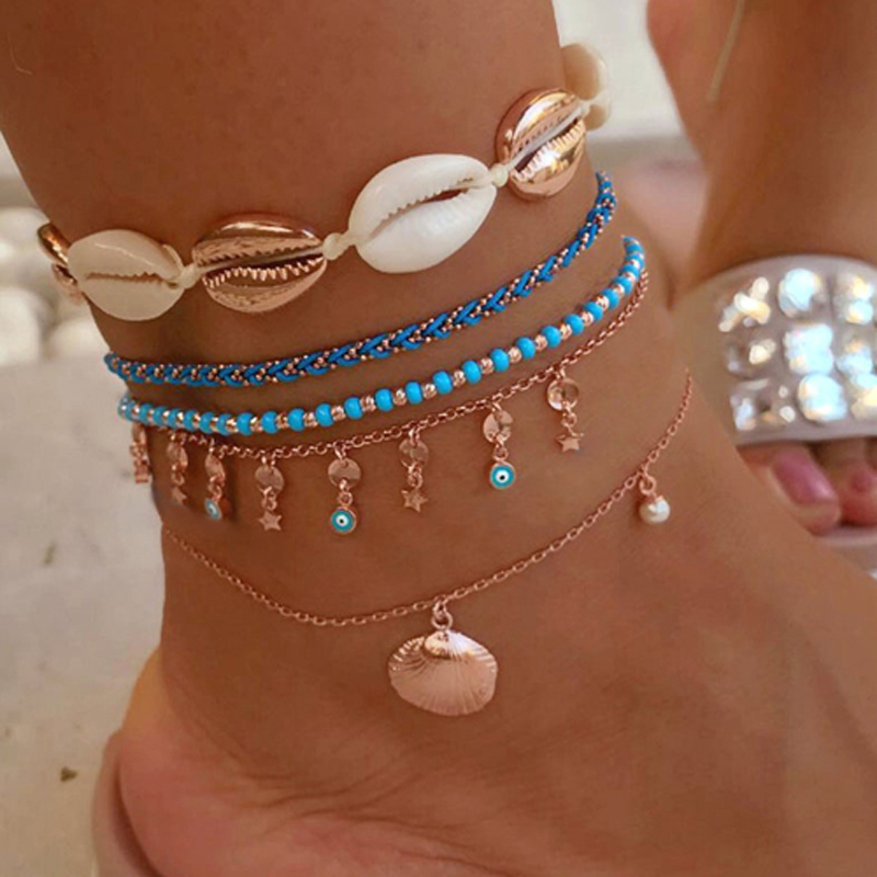 Tocona 5pcs/sets Bohemian Summer Shell Beaded Anklet for Women Bracelets Scallop Star Chain Beach Jewelry Accessories 7075