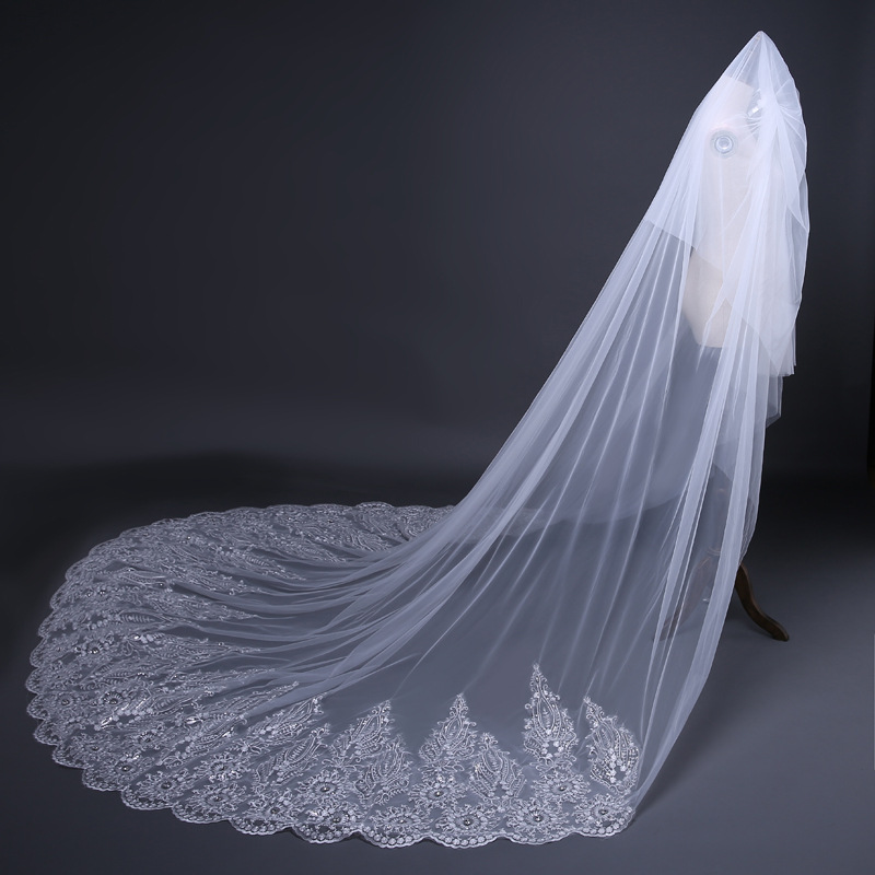 JaneVini 2020 Luxury 3.8M Long Ivory/White Two Layer Wedding Veils Lace Appliques Edge Beaded Soft Tulle Bridal Hair Accessories