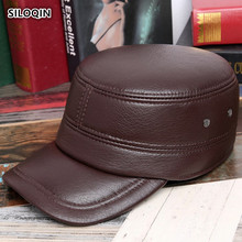 SILOQIN Mens Flat Cap Genuine Leather Hat Man Autumn Winter Warm Sheep Skin Military Adjustable Ear Protection Leisure Hats