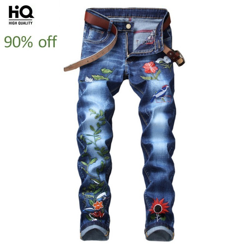 Fashion Embroidery Flower Bird Zipper Wash Jeans Men High Quality Slim Denim Pencil Pants Brand Large Size 29-38 Straight Pants