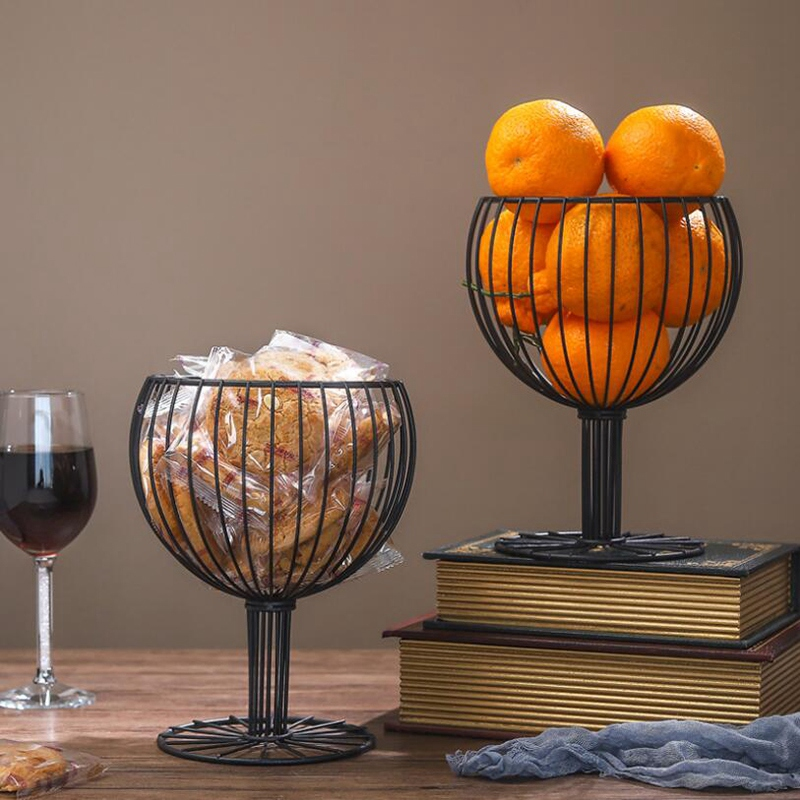 2 Pack Wine Glass Wrought Iron Snack Storage Basket Snack Tray Dessert Fruit Basket for Home Decoration