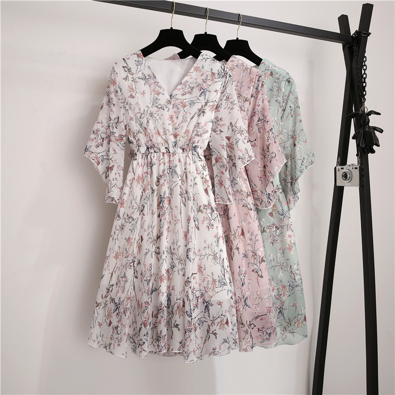 New Spring Summer Chiffon Dress Women V-Neck Ruffle Sleeve Print Dresses Sweet Print Slim Elastic Waist Mid-length Women Dress