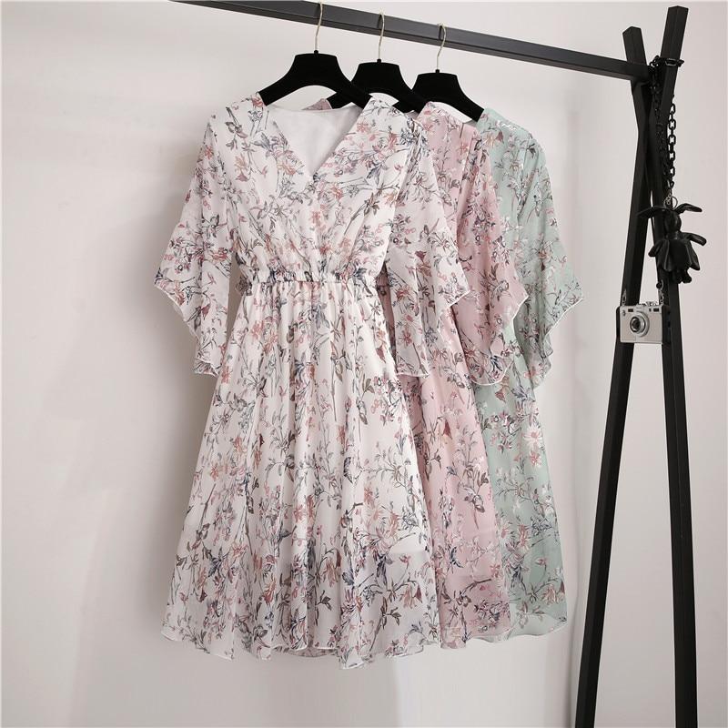 New Spring Summer Chiffon Dress Women V-Neck Ruffle Sleeve Print Dresses Sweet Print Slim Elastic Waist Mid-length Women Dress