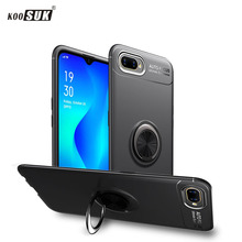 Shockproof Case For OPPO A1k Case Finger Ring Magnet Matte TPU Silicone Cover For OPPO A1k Cases Fundas Coque cheap Plain Half-wrapped Case Finger Ring Magnet Matte TPU Silicone Phone Case Anti-knock Kickstand With Finger Ring Adsorption