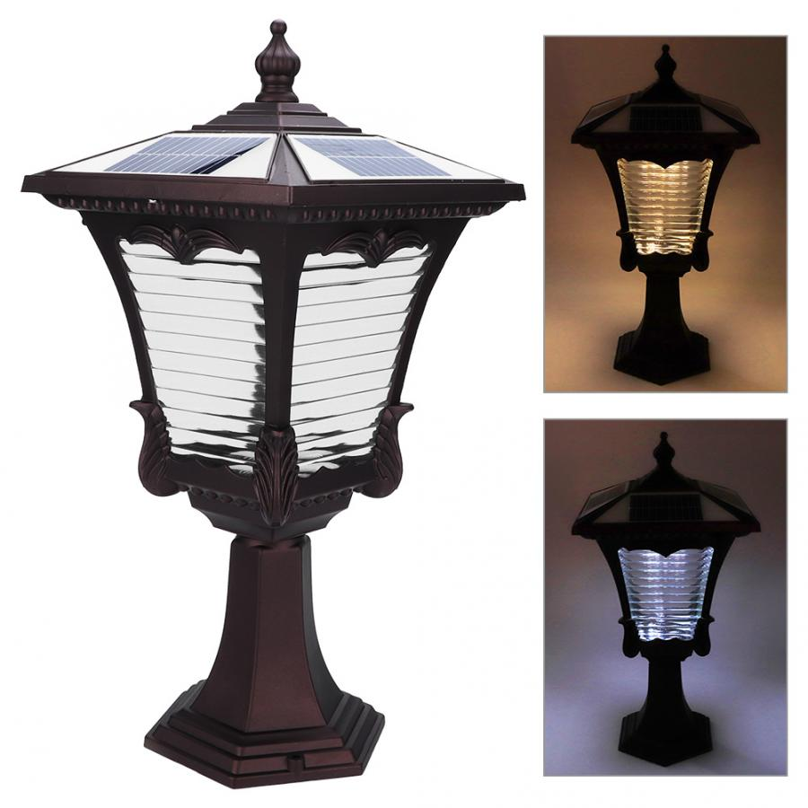 LED Solar Powered Pillar Light Retro Style 2 Colors Lantern Glass Yard Garden Gate Post Lamp - 6