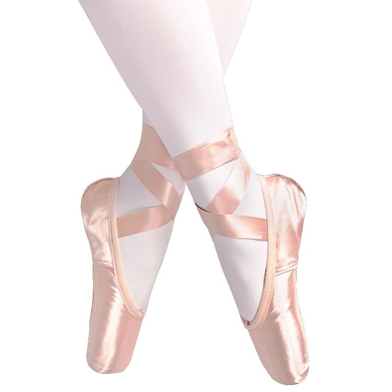 Новинка 2020, балетные пуанты для взрослых детей, телесный/черный/красный атлас, Женская Профессиональная танцевальная обувь с лентами, Силик...