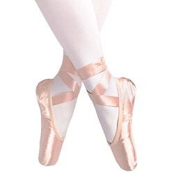 2020 novo adulto crianças ballet pointe sapatos nu/preto/vermelho cetim meninas mulheres sapatos de dança profissional com fitas silicone toe almofada