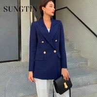 Sungtin-Chaqueta de gran tamaño para mujer, Blazer informal con doble botonadura, manga larga, azul marino, coreano, prendas de vestir exteriores para oficina