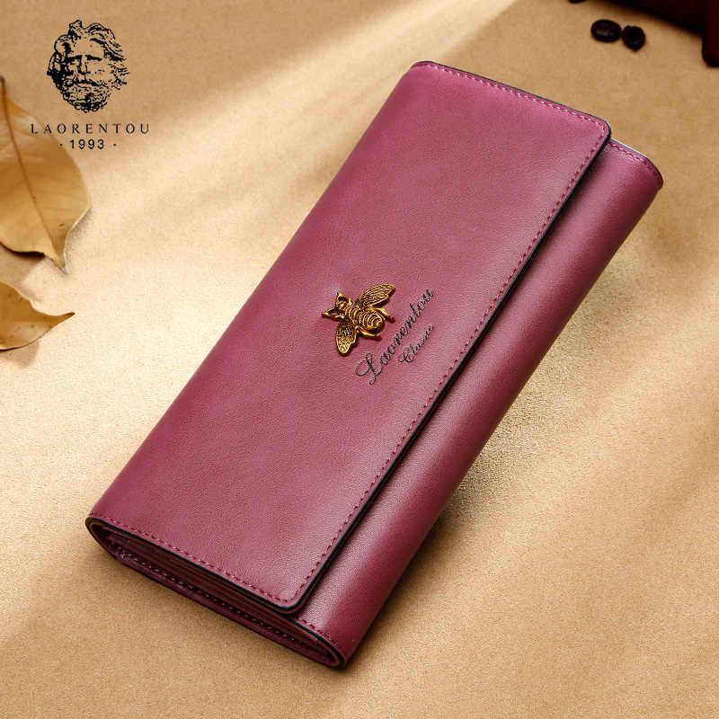 LAORENTOU Fashion Ladies długi portmonetka Retro portfel wielofunkcyjny damski torebka na telefon komórkowy skóra bydlęca kobiece stylowe etui na karty