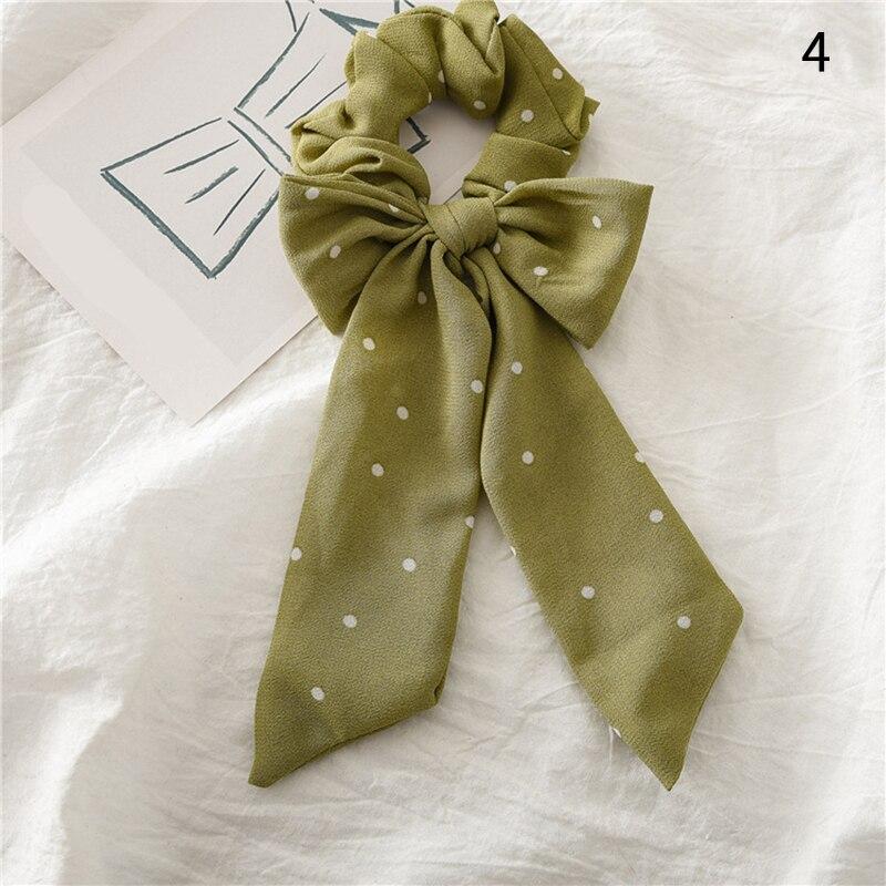 Femmes banderoles chouchous à pois imprimé Floral élastique noeud cheveux corde fille cheveux cravates coréen doux cheveux accessoires chapeaux 28