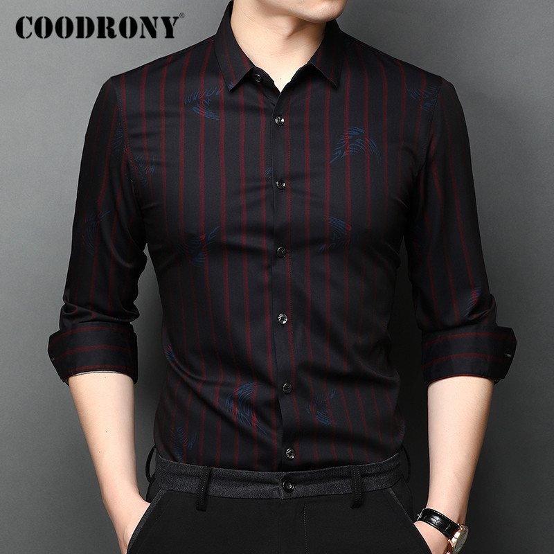 COODRONY Brand Long Sleeve Shirt Men Clothes Spring Autumn Fashion Striped Pattern Shirts Business Casual Camisa Masculina C6010