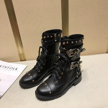 Boots Women Winter Punk Shoes Women Genuine Leather Bota Feminina High Quality Botas Mujer Combat Military Boots Rivets(China)