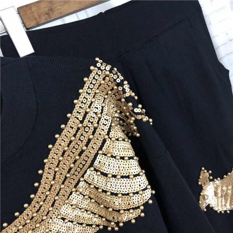 2020 mulheres inverno beading lantejoulas padrão manga longa malha pulôver tops calças 2 peças define roupas moda streetwear