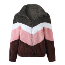 Goocheer Multicolor Fuzzy Zipper Up Jacket 2019 Autumn Winter Lapel Casual Women Coat And Outwear Tracksuits Chaqueta Mujer