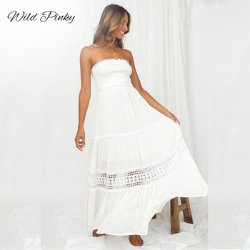 2019 summer women boho maxi dresses loose long sleeve sundress white lace dress long hollow out beach dress WildPinky 2020 Beach Dress Sexy White Strapless Dresses Boho Holiday Summer Long Lace Up Hollow Out Women Party Dress Vestidos