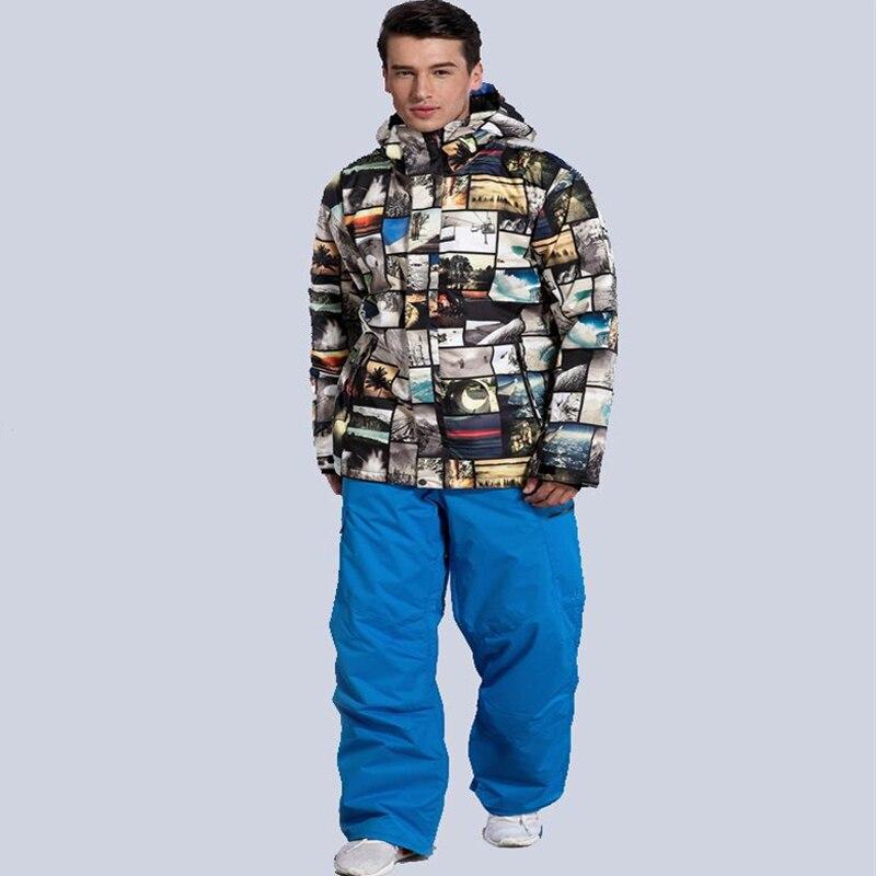 Mode hommes veste de costume de neige Sports de plein air snowboard vêtements imperméable coupe-vent respirant veste de ski + pantalon GSOU neige