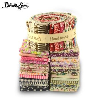 Booksew-rollo de tela de algodón con flores de tela para costura, rollo...