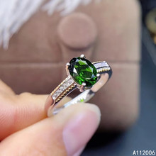 цены KJJEAXCMY fine jewelry 925 sterling silver inlaid natural diopside ring delicate new female gemstone ring classic support test