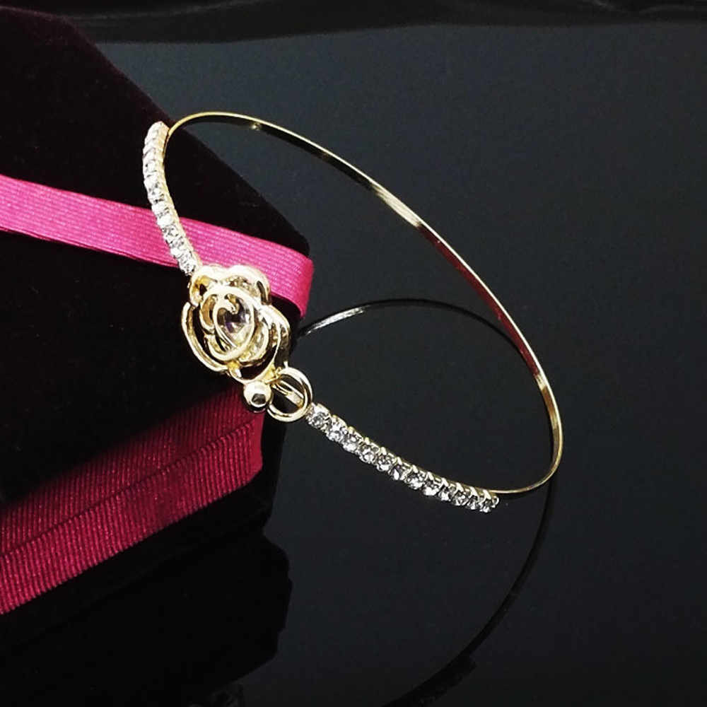 קריסטל צמידי צמידי נשים אלגנטי נשים של קריסטל רוז פרח צמיד קאף צמיד תכשיטים