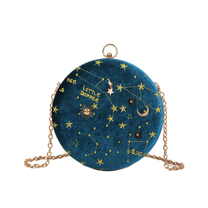 Starry Sky Circular Fashion Suede Shoulder Bag Chain Belt Women'S Crossbody Messenger Bags Ladies Purse Female Round Handbag Blu