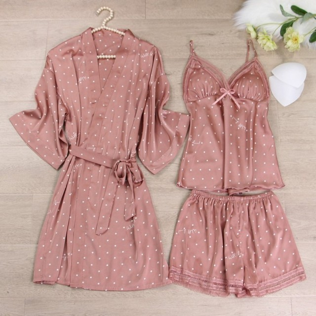 Pink Print Dot Wedding Robe Set Sleepwear Casual Intimate Lingerie Nightgown Nightdress Soft Homewear Home Clothing Kimono Gown 4