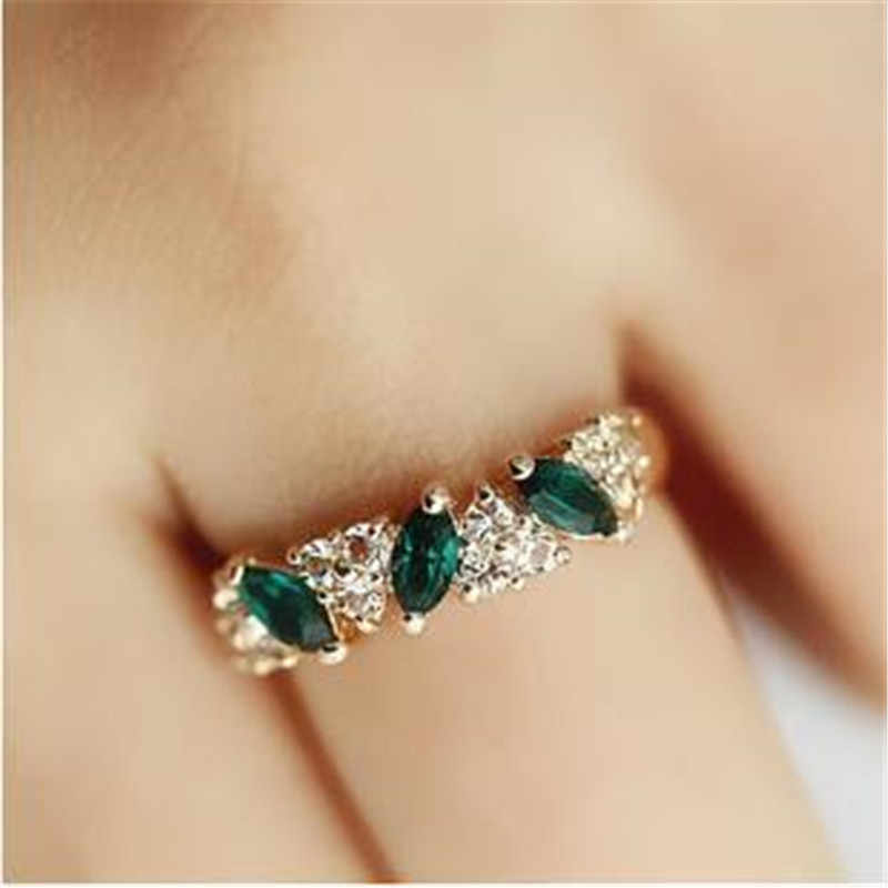 ใหม่ Rose Gold Rhinestone แหวนทองแหวนกลวง Cross หมั้นแหวนหญิงเครื่องประดับงานแต่งงานสำหรับผู้หญิงของขวัญ