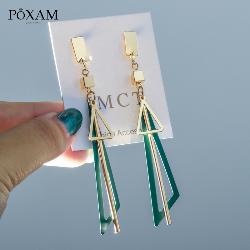 New Design Vintage Long Statement Geometric Triangle Tassel Dangle Drop Earrings For Women Trendy Korean Earings Jewelry Brincos