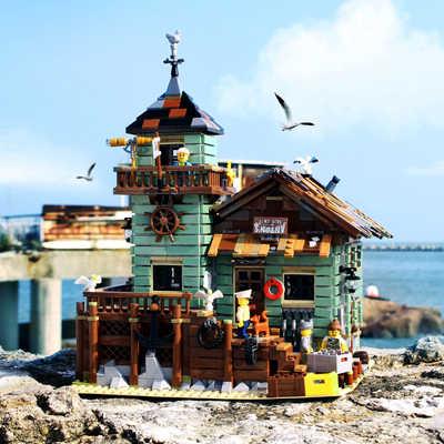 Fishermanerly cabaña vieja tienda de pesca bloques de construcción creador de ciudades vista a la calle de ladrillos amigo DIY juguetes educativos para los niños