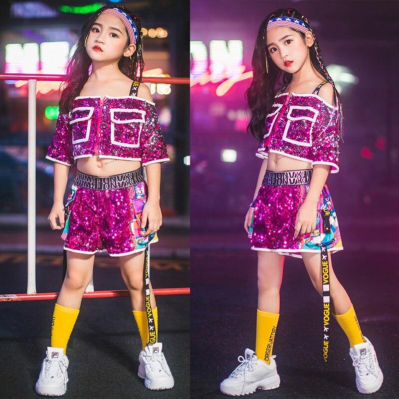 Children'S Hip Hop Costumes Girls Sequins Jazz Dance Hip Hop Street Dance Suits Fashion Show Dance Clothes Stage Wear DQS2897