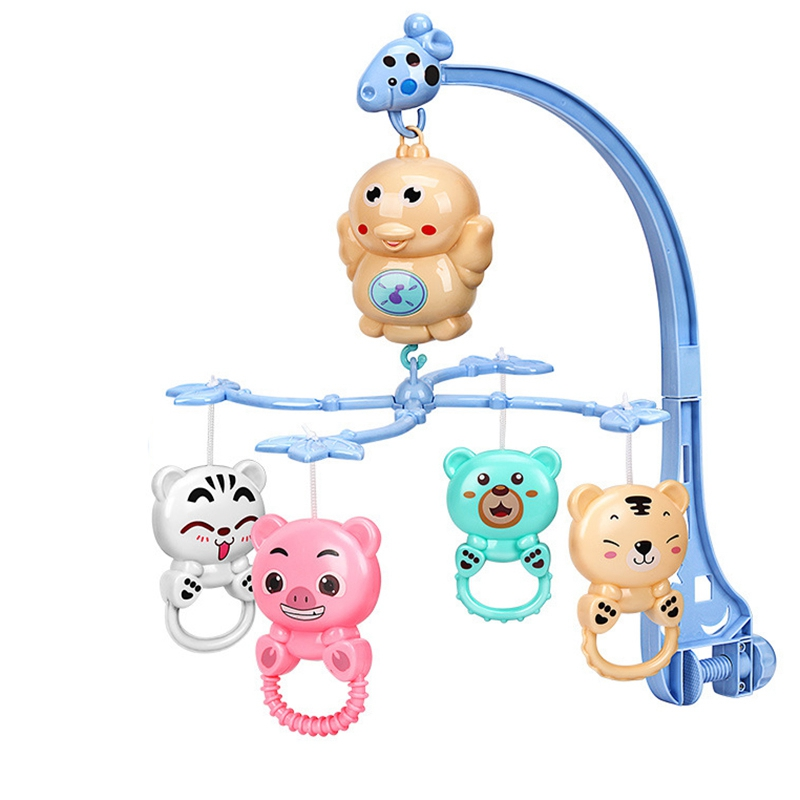 Baby Crib Rattles Music Educational Toys Bed Bell Carousel For Cots Projection Infant Baby Toy 0-12 Months For Newborns Blue