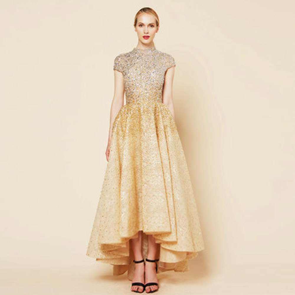Gold Gradient High Low Evening Dress Lace Beaded Evening Gown High Neck Cap Sleeve