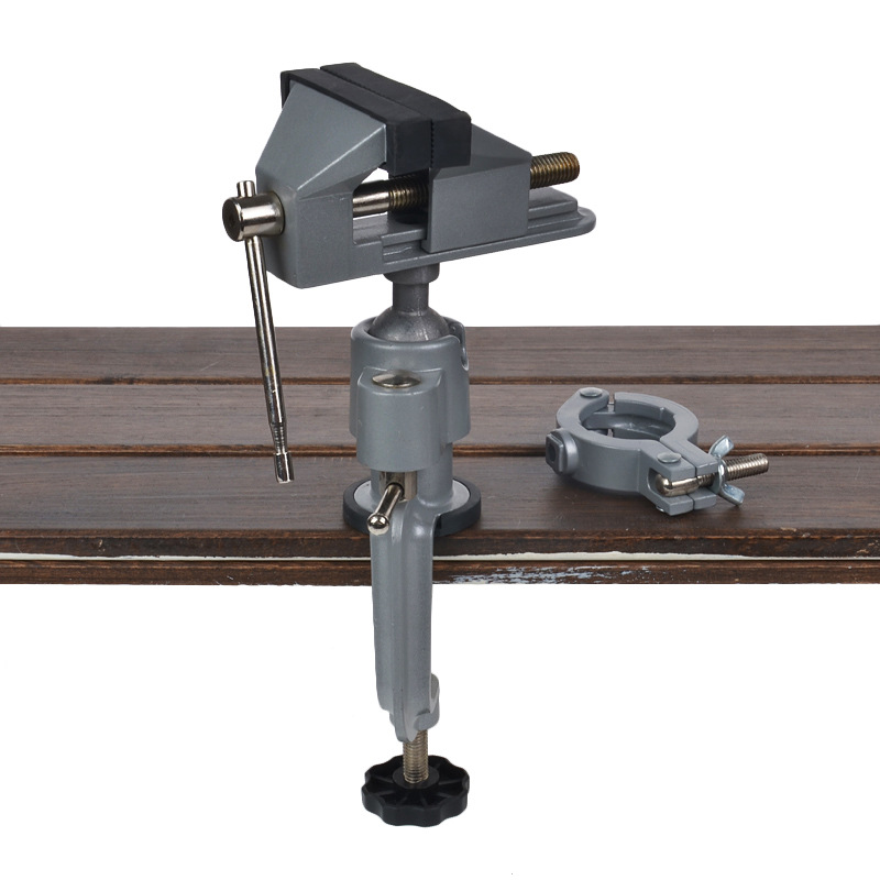 360 Clamp 2 In 1 Bench Vise Table Grinder Holder Drill Stand Rotary Tool For Craft Model Building Metal Working Craft Electronic