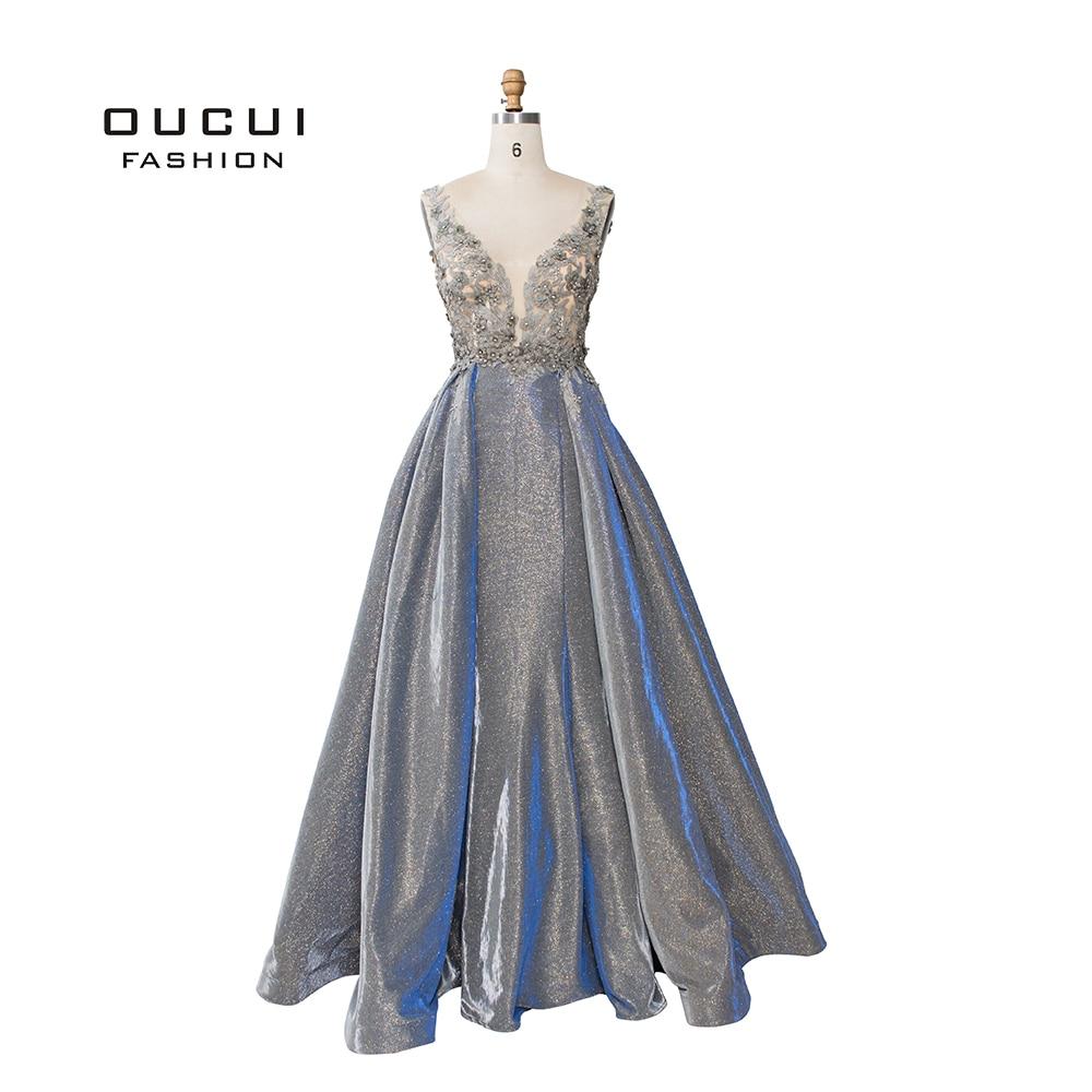 DuBai Gray Glitter Sparkling Mermaid Sexy Womens Evening Gowns 2019 V-Neck Appliques Arabic Robe Soiree Party Dress OL103259