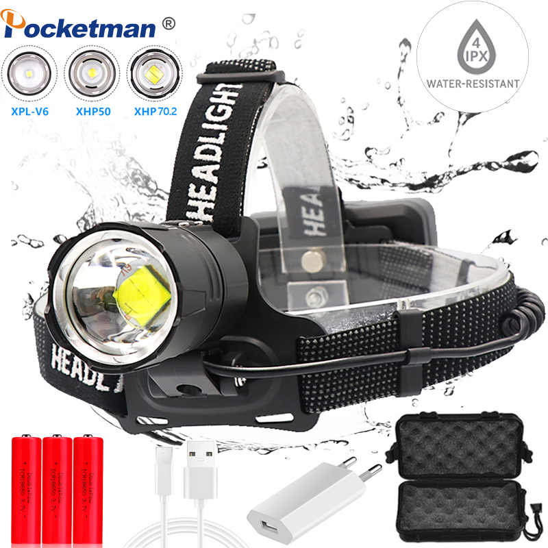 Most Powerful XHP70.2 USB LED Headlight Headlamp XHP70 Head Lamp Power Flashlight Torch Head Light Best For Camping, Fishing