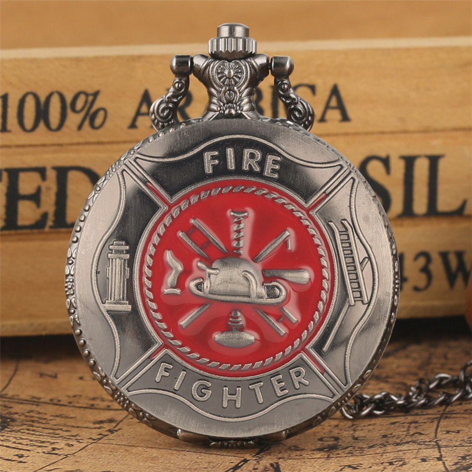 Souvenir Pendant Pocket Watch Firefighter Design Grey Retro Necklace Hanging Clock Antique Pocket Timepiece Gifts 30/80cm Chain