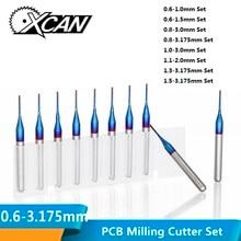 XCAN 10 шт. 3,175 хвостовик с синим покрытием твердосплавные концевые фрезы ЧПУ Маршрутизатор биты для гравировки края режущая Концевая фреза 0,8-3,0 мм