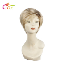 Short Straight Synthetic Dark roots blonde wigs for black women Hair Natural Blonde Toupee Wigs