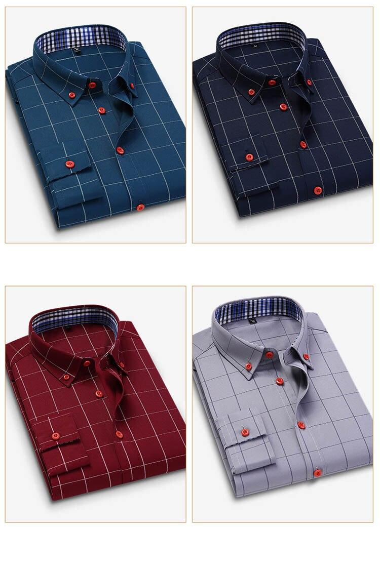 H12fcff47dcba4b36aa5a2115b7e8533fJ Handsome Fashion Men Shirts Casual Long Sleeved Plaid Shirt Regular Fit Male Blouse 4XL 5XL