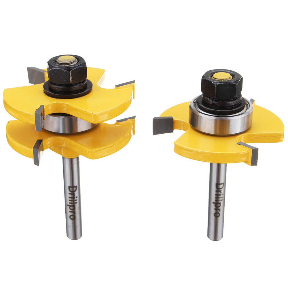 RB22 2Pcs Tongue & Groove Router Bit Set 1/4 Inch Shank 3 Teeth T-shape Wood Milling Cutter For Drillpro Tools Set Accessories