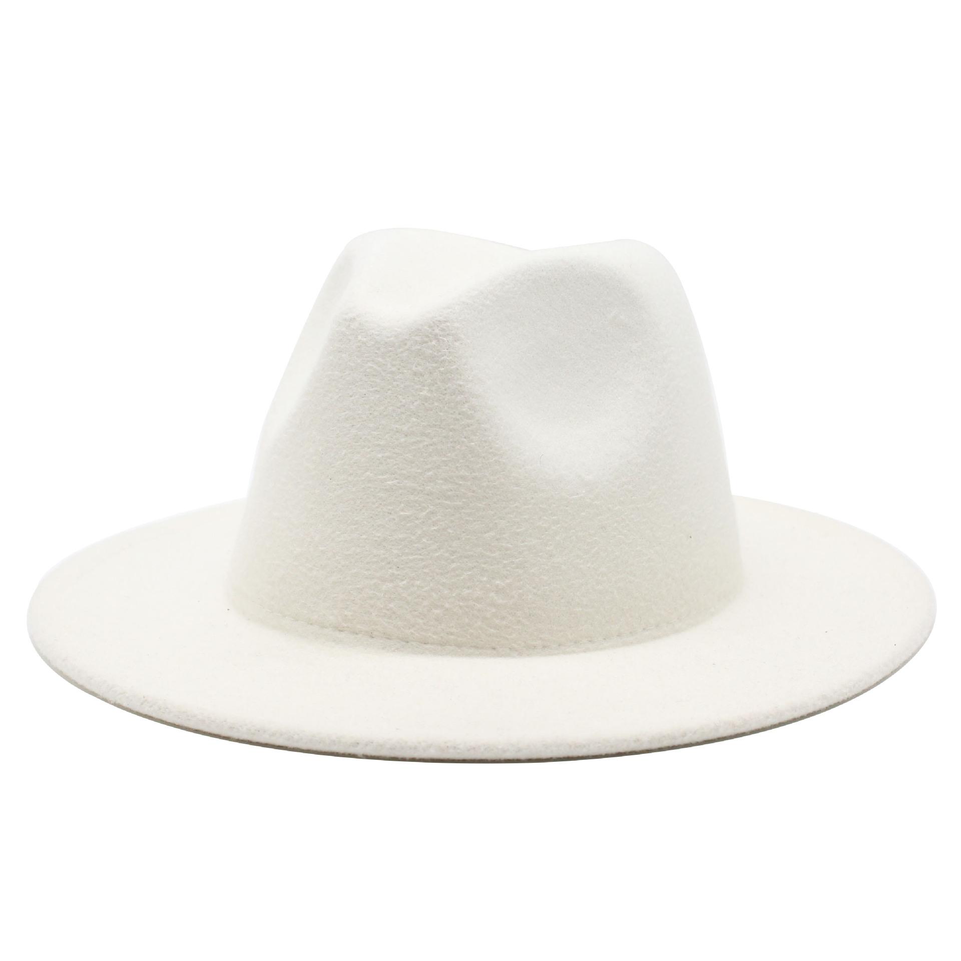 All match Wide Brim Fedora Hat For Women Solid Color Wool Felt Hat For Men Autumn Winter Panama Gamble Yellow Jazz Cap 56 61cm