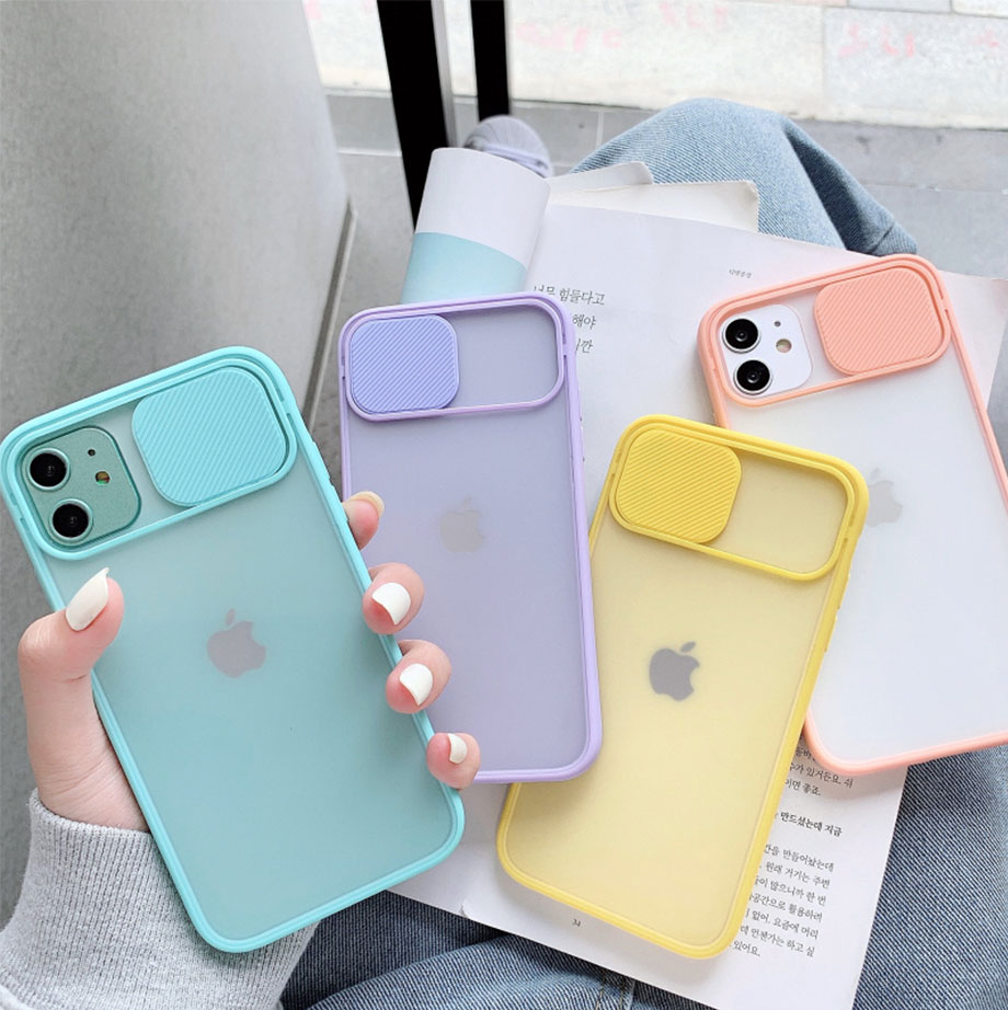 Slide Camera Lens Protection Phone Case for IPhone 11 11Pro Max XR XS Max X 7 8 Plus Shockproof Matte Clear Soft Tpu Back Cover(China)