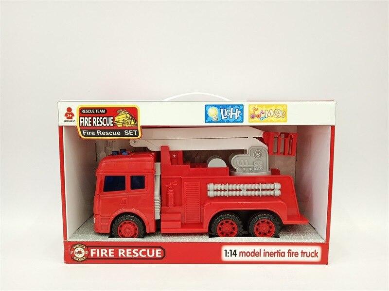 CHILDREN'S Toy Inertia Fire Truck Model With Light And Music Model Fire Truck Aerial Ladder Truck Sprinkler Truck