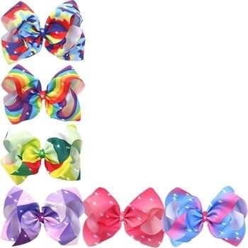 8 pulgadas chica gran lazo horquilla lazo colorido grogrén cinta Boutique Bling brillante Arco Iris accesorios para el cabello pinza de cocodrilo