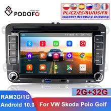 Podofo-reproductor Multimedia con Android GPS para coche, autorradio estéreo de 7 pulgadas, 2Din, para VW, Volkswagen, Skoda, Seat, Polo, Passat, coche Tiguan